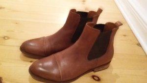 Leder Stiefelette,Chelsea Boots DIANA von Ten Points, cognacbraun