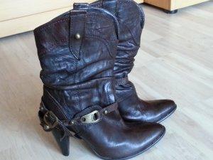 Leder Stiefelette mit Schnellen Gr. 39 Top Zustand, Vintage Leder