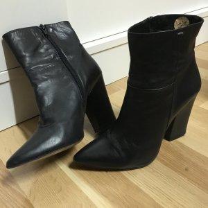 Leder Stiefelette schwarz 38