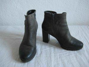 Leder-Stiefelette von Zanon & Zago in grau-schwarz, robuste Sohle