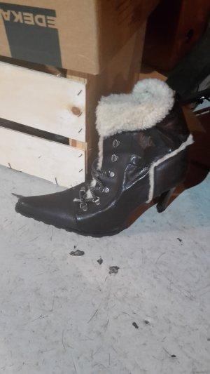 Leder-Stiefelette zum Schnüren mit Kunst-Fell 40/ Winter