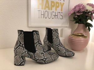 Leder Stiefeletten mit Schlangenprint - Snakeprint Boots