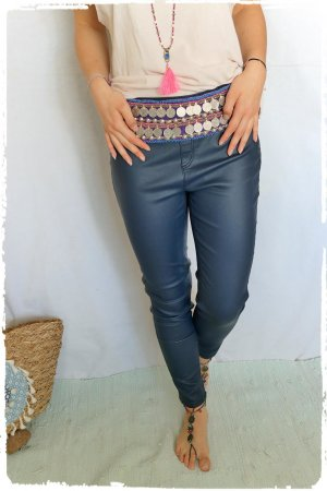 Leder Style Leggings in blau