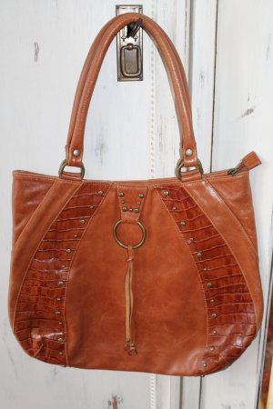 Leder Tasche cognac Braun Vintage boho