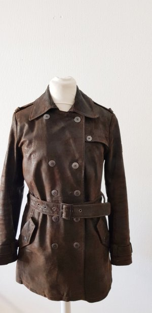 Frieda & Freddies New York Trenchcoat zwart bruin