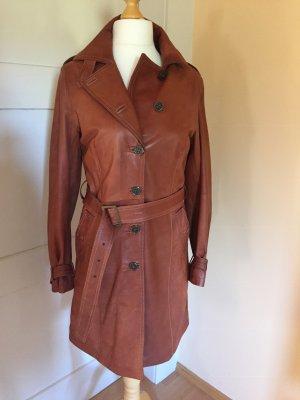 Vera Pelle Leren jas donker oranje-cognac Leer