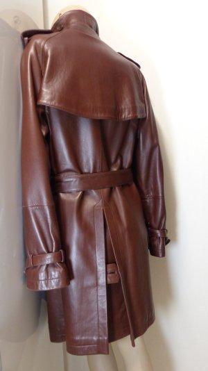Abrigo de cuero marrón-rojo amarronado Cuero