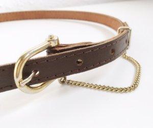 Leder Vintage Gürtel braun Gold Metall hipster cool dunkelbraun