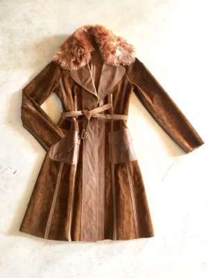 MNG Leren jas cognac-bruin