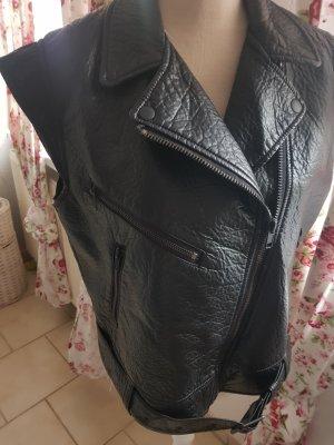 H&M Chaleco de motorista negro Imitación de cuero