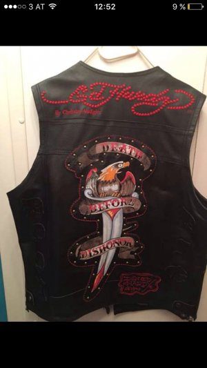 Ed Hardy Leather Vest multicolored