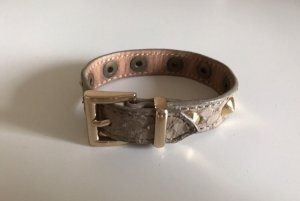 Leather Bracelet gold-colored-grey brown