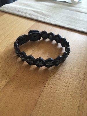 Bracelet en cuir brun foncé-gris anthracite