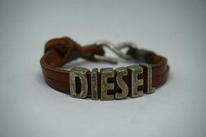 Diesel Bracelet en cuir argenté-brun