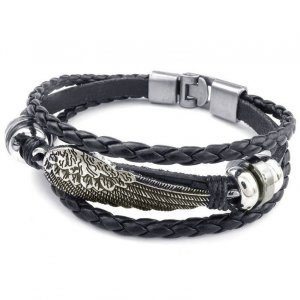 Friendship Bracelet black-silver-colored imitation leather