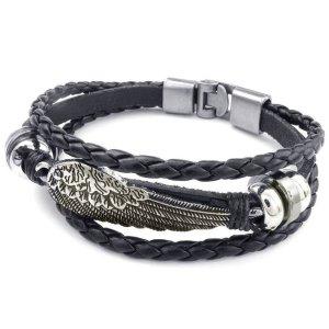 Bracelet brésilien noir-argenté faux cuir