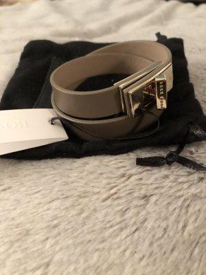 Hugo Boss Leather Bracelet grey brown