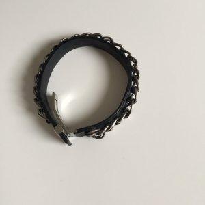 Hugo Boss Leather Bracelet black-silver-colored