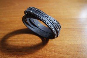 Bracelet en cuir brun noir-vert foncé cuir