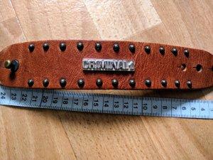 Bracelet en cuir marron clair-cognac cuir