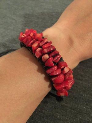 Lederen armband zwart-rood