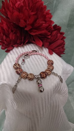 Leather Bracelet silver-colored-pink