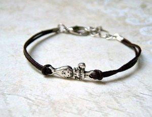 Bracelet argenté-brun foncé cuir