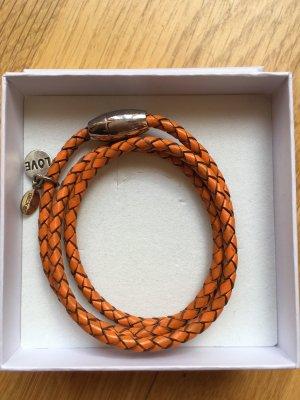 Anke Decker Braccialetto di cuoio arancione scuro-argento