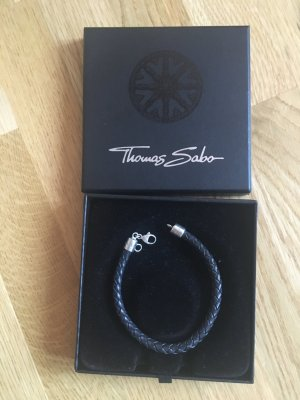 Thomas Sabo Leather Bracelet black-silver-colored