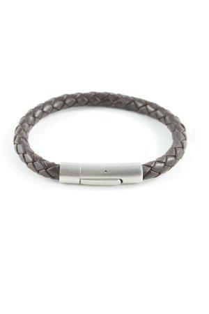 Lederen armband donkerbruin-zilver casual uitstraling