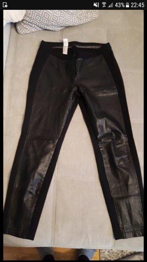 Apanage Leren broek zwart