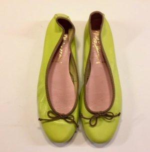 Ballerines pliables vert clair-vert gazon cuir