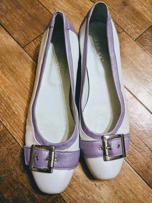 Terry Ballerina's met kant wit-paars Leer