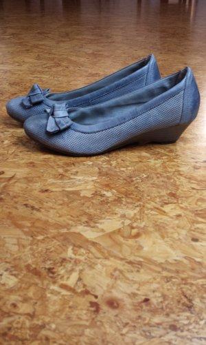 Tamaris Ballerinas pale blue-azure leather