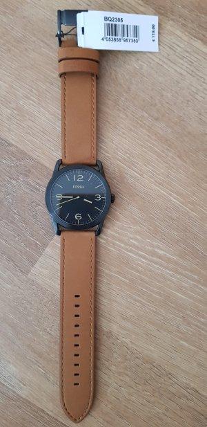 Lederband Uhr Fossil Braun mit Etikett