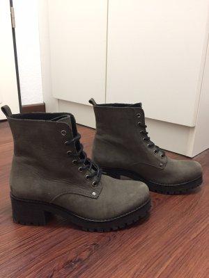Oxmox Botas con cordones negro-gris Cuero