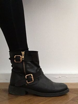 Pieces Ankle Boots black-gold-colored