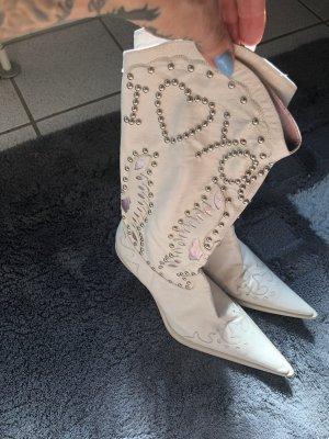 Botas estilo vaquero blanco-rosa Cuero