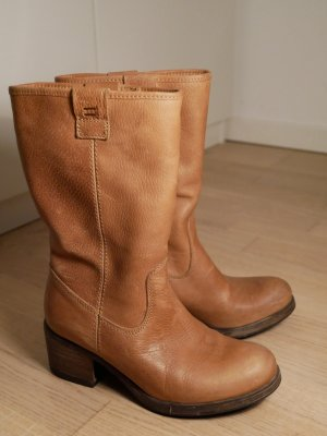 5th Avenue Fur Boots cognac-coloured leather