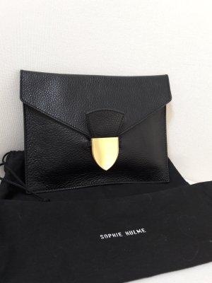 Lederclutch in schwarz mit goldenem Verschluss
