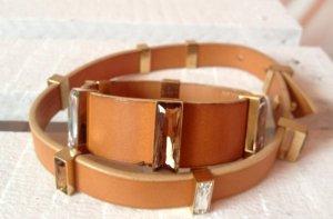 Ledercollier und Armband von Swarovski, Leder cognac, wie neu