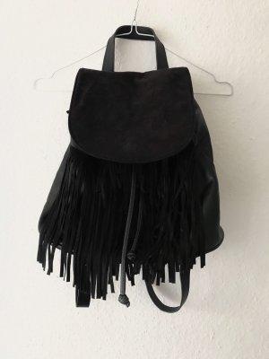 H&M Fringed Bag black imitation leather