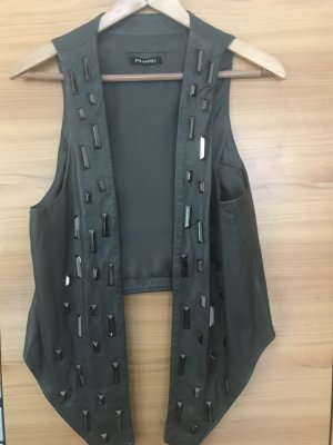 Phard Leather Vest taupe-silver-colored