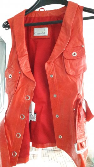 Leather Vest red
