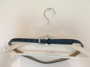 Hallhuber Leather Belt steel blue-silver-colored leather