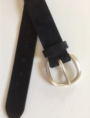 Vanzetti Leather Belt black-silver-colored