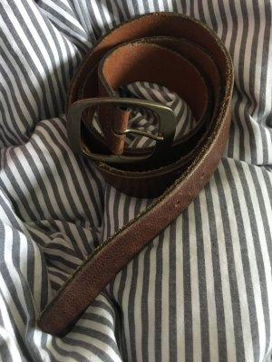 Pieces Leather Belt cognac-coloured
