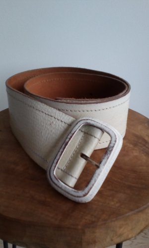 Cinturón de cuero blanco puro-amarillo claro