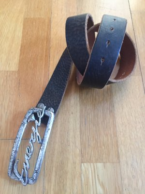 Energie Leather Belt dark brown-silver-colored
