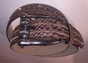 Ledergürtel braun Animalmuster Reptil-Optik